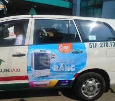 Comet quảng cáo trên taxi Vinasun tại HCM