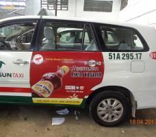 Nước mắm Liên Thành quảng cáo taxi Vinasun