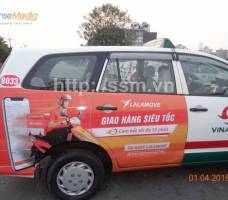 Lalamove quảng cáo trên taxi Vinasun HCM