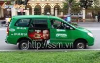 Nhãn hàng Khang Dược Sâm quảng cáo trên xe taxi Mai Linh