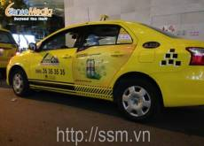 Quảng cáo thương hiệu bia Larue trên xe Asia Taxi tại Nha Trang