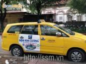 Quảng cáo trên xe Vina Taxi cho Nệm Kim Cương