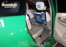 Quảng cáo sau lưng ghế taxi Mai Linh cho BIDV