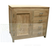 Teak Sideboard 4 Drawers 1 Door