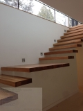 Amazing Teak Wood Floating Stairs Attach On Wall Without Handle Rails As Minimalist Decors Ideas