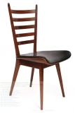 Solid Teak Leather Ladder Back Dining Chairs