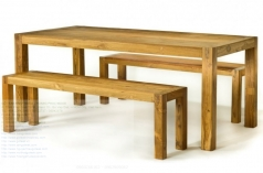 Furniture: Simple Reclaimed Teak Wood Dining Table Set With Bench