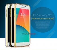 Ốp viền nhôm Galaxy S5 bo tròn kẻ chỉ vàng