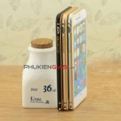 Viền nhôm iPhone 6 Plus bo tròn kẻ chỉ vàng