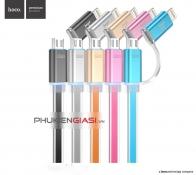 Cáp sạc USB 2 trong 1 lightning+microUSB HOCO 2 đầu UPL08