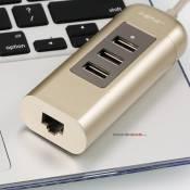 USB hub vỏ nhôm có hỗ trợ cổng LAN Remax Cati RU-U4