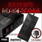 Ổ điện thông minh 5 cổng USB, 6 ổ cắm chính hãng Remax