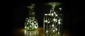 Lọ Thủy tinh đom đóm với đèn LED