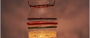 Làm đèn treo trang trí với chai lọ thủy tinh đẹp lung linh