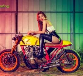Chân dài đọ dáng cặp đôi Honda CB750 cafe racer của Tự Thanh Đa