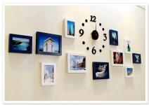 Bộ 11 khung ảnh gỗ cao cấp kèm đồng hồ