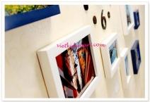 Bộ 10 khung ảnh gỗ cao cấp kèm đồng hồ và decal