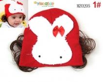 Mũ len mặt thỏ trắng