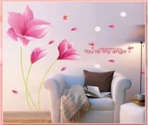 Decal dán tường Hoa Tóc tiên hồng