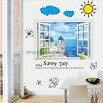 Decal dán tường Cửa sổ Biển và Sunny day