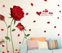 Decal dán tường Cành hồng lớn