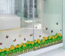 Decal hàng rào hoa vàng