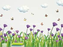 Decal hàng rào hoa cúc tím