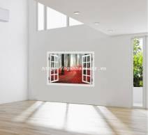 Decal dán tường Cửa sổ Rừng cây lá đỏ