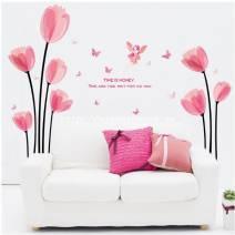 Decal dán tường hoa Tulip hồng
