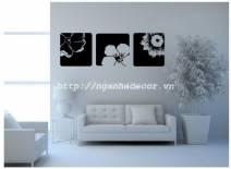 Decal dán tường Set 3 bức tranh hoa (màu đen)