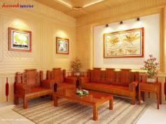 Thiết kế phòng khách phong cách giả cổ công trình từ sơn Bắc Ninh