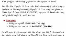 THÔNG BÁO LỊCH NGHỈ LỄ QUỐC KHÁNH - 02/09/2017