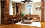 Thiết kế nội thất phòng khách đẹp bằng đồ gỗ