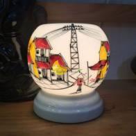 Đèn xông tinh dầu phố cổ loại nhỏ dáng tròn