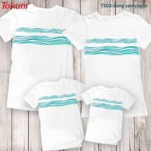 Áo T-Shirt trắng in sóng xanh ngọc TS03