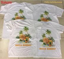 Áo T-Shirt trắng in Hello Summer TS06