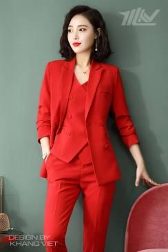 Bộ Veston nữ màu đỏ