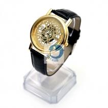Đồng hồ lộ máy dây da (vàng)