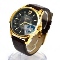 Đồng hồ CURREN có lịch dây da sần (mặt đen, dây nâu)