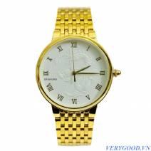 Đồng hồ dây thép Baishuns mặt rồng ( mặt trắng , dây vàng)