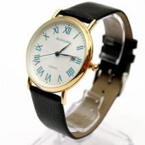 Đồng hồ nam dây da baishuns mặt số la mã hiển thị ngày