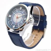 Đồng hồ curren dây da xanh, mặt xanh có lịch hiển thị ngày