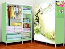 Tủ vải đựng quần áo 3d 2 buồng 6 ngăn