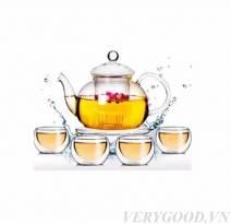 Bộ ấm trà thủy tinh bếp nến đẹp, giá rẻ