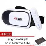 Kính thực tế ảo Vr Box 2 và Tay cầm chơi game (Trắng) + Tặng 1 dao du lịch bỏ ví hình thẻ ATM (Nâu)