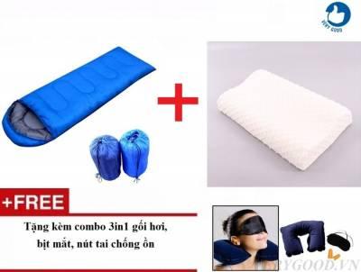 Combo túi ngủ văn phòng cá nhân + gối cao su non mềm mại tặng kèm bộ bịt mắt, nút tai.]
