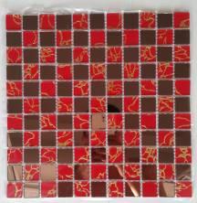 Gạch mosaic vàng đỏ in hình rồng cao cấp