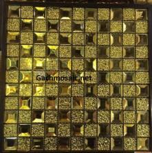 Gạch mosaic vát 4 cạnh kết hợp hoa văn