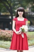 Váy vintage xòe 2 tầng đỏ