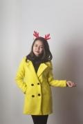 Áo dạ Kimtan 4 cúc màu vàng chanh